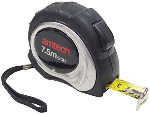 Am-Tech 7,5 m x 25 mm de acero inoxidable cinta métrica, P1271