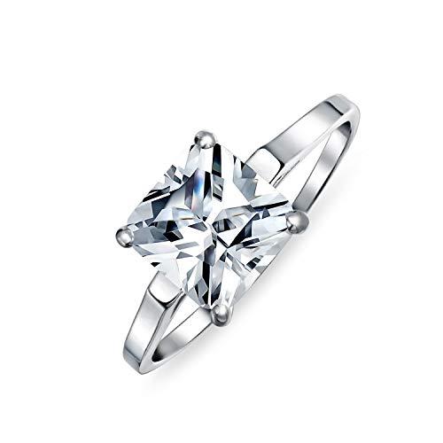 Bling Jewelry 2.5Ct Zirconio Cúbico AAA Corte Princesa Brillante CZ Solitario Anillo De Compromiso Banda Fina Plata Esterlina 925
