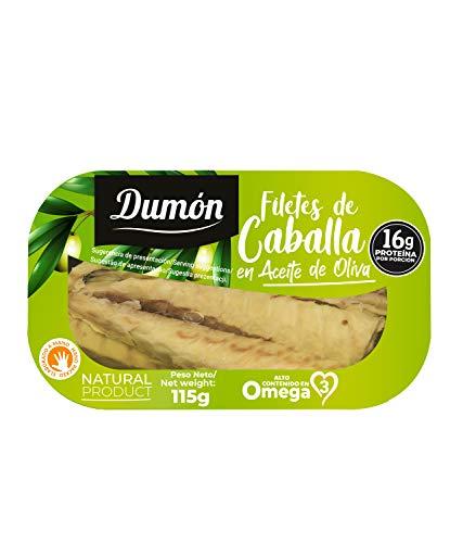 Dumón - 16 unidades de 115 gr de Filetes de Caballa en Aceite de Oliva, Exclusivo Formato Transparente, Abre Fácil, Conservas de Pescado en lata Alto en Proteínas y Omega 3