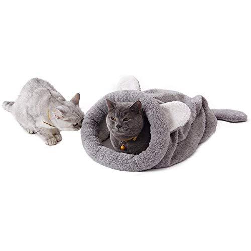 Umlable Vierjahreszeiten-Schlafsack für Katzen, weich, warm, Grau