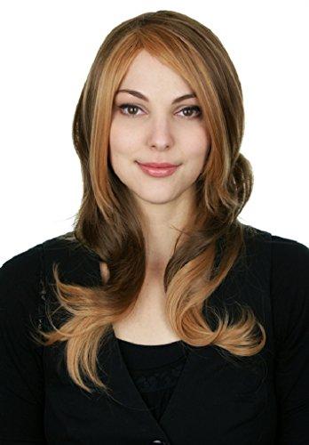Prettyland C445-55cm Ombré longs ondulés blonds brun strié intensifié perruque à la mode