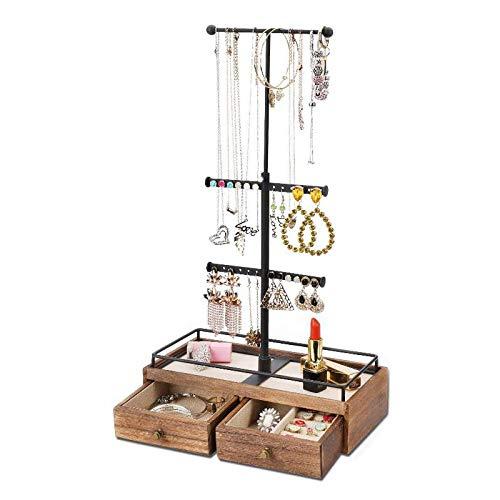 Fransande Organizador de joyas de metal y madera, caja de almacenamiento básica de 3 niveles, soporte de joyería para collares, pulseras y pendientes.