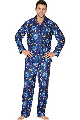 The Polar Express Adult Believe Button-Front Coat Shirt And Pants Pajama Set (Large) Blue