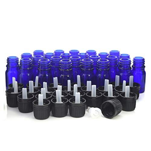 NLLeZ 24pcs 5ml Cobalto Botellas de Vidrio Azul Viales Contenedores con gotero Euro Tapón Evidente de manipulación Negra para aceites Esenciales Aromaterapia (Color : Cobalt Blue, tamaño : 5ml)