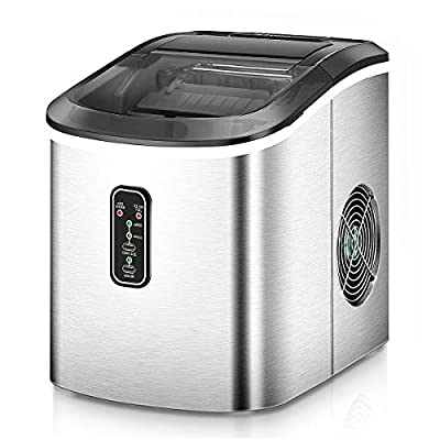 Euhomy Ice Maker Machine Countertop, Makes 26 lbs Ice in 24 hrs-Ice Cubes Ready in 8 Mins, Compact&Lightweight Ice Maker with Ice Scoop & Basket. (Silver)