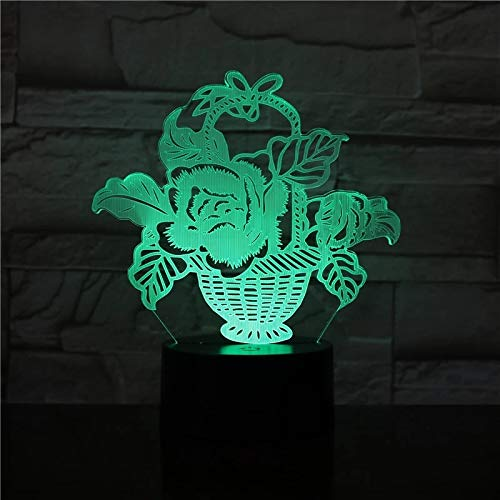 SCNYCUL 3D Night Light Illusion Lamp Flower basket 7 colors 3-Pattern with Remote Control Best Gifts Toys Boys Girls Birthday Holiday Gift Children