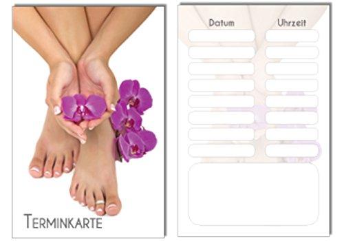 100 Terminkarten / Bestellkarte Orchidee Pediküre Fusspflege Nagelstudio