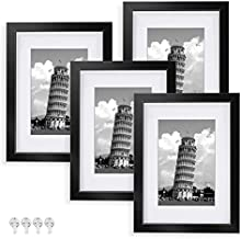 Nacial Picture Frames 8x10 Set of 4, Black Photo Frame, Display 5x7 Photo with Mat and 8x10 photo without Mat, Picture Frames Collage for Wall or Tabletop