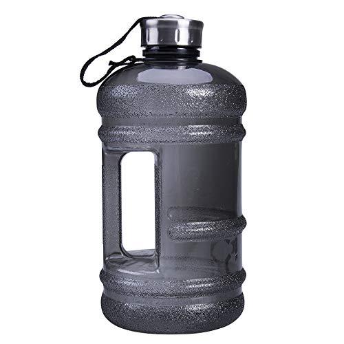 Große Trinkflasche, Sportwasserflasche 2.2L Mit Leichtem Tragegriff Für Die Arbeit Im Fitnessstudio Wandern Im Freien,Schwarz
