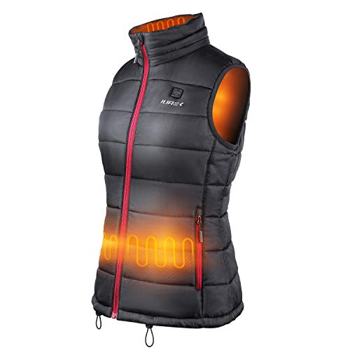 IUREK Heated Vest ZD937 Womens Electric Heated Gilet Jacket with 10000mAh Battery Pack 3 Adjustable Temperature Washable Heated Body Warmer for Winter Outdoors