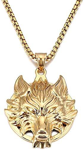 ZJJLWL Co.,ltd Necklace Retro Wolf Pendant Necklace for Men Stainless Steel Long Link Chain Vintage Necklace for Men Friends Jewelry