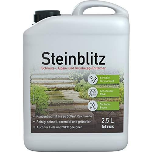blizz Tec Steinblitz 2,5 l Steindusche & Wegerein zur hochwirksamen Reinigung Ihrer Außenanlagen und der Entfernung von Algen, Grünbelag und Schmutz