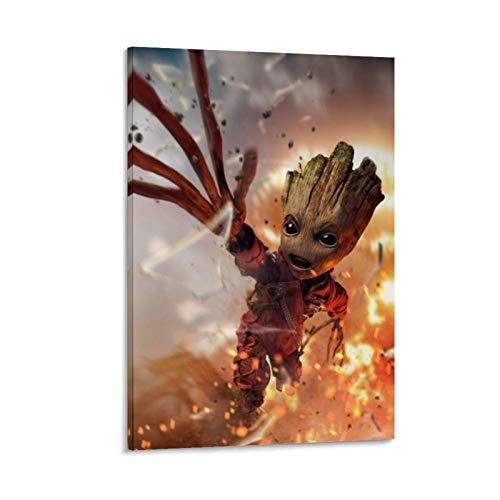 Póster de la película Guardianes de la galaxia, Vol. 2 Groot, pintura en lienzo, decoración de pared para el hogar, decoración de sala de estar, decoración de oficina, listo para colgar, 20 x 30 cm
