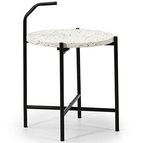 VS Venta-stock Beistelltisch Runder Couchtisch Yala mit weißer Terrazzo-Platte und Metallbeinen in mattem Schwarz/Durchmesser: 41 cm