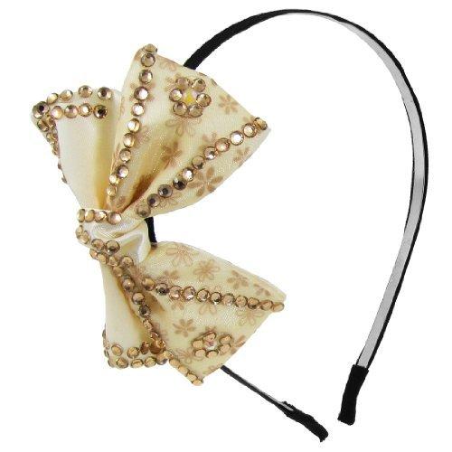 DealMux fiore del metallo modello cornice Decor bowknot donna cerchio dei capelli, Beige, 0,04 Pound
