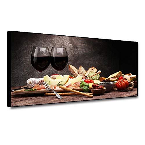 ZDFDC Lienzo Arte de la Pared Pintura Vino Tinto Carteles e Impresiones Cuadro para Bar Cocina Restaurante Pasillo Decoración-50x120cm with Frame