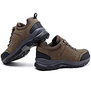 CAMEL CROWN Mens Hiking Shoes Low Cut Boots Leather Walking Shoes for Outdoor Trekking Training Casual Work Khaki/Black