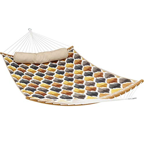 Sunnydaze Quilted 2-Person Hammock with Curved Bamboo...