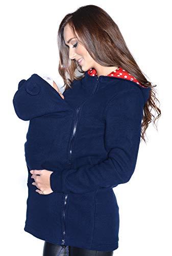 MijaCulture Maternity Sweat ? Capuche Polaire Polaire Chaude / Pull pour Deux / pour Porte-bébé 3073A (M, Bleu Marin)
