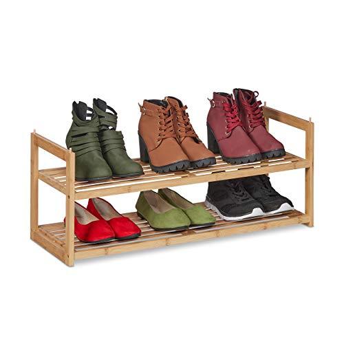 Relaxdays Schuhregal Bambus stapelbar, Schuhablage mit 2 Ebenen, bis 6 Paar Schuhe, Flur, HBT 29,5 x 72,5 x 27 cm, Natur