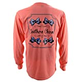 Southern Charm Preppy Bow Tie on a Coral Heather Long Sleeve T Shirt - Large