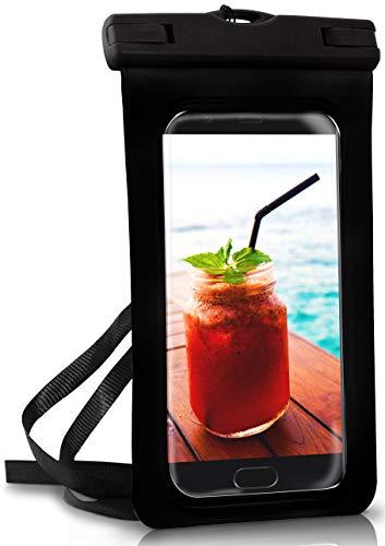ONEFLOW wasserdichte Handy-Hülle für Huawei P Reihe   Touch- und Kamera-Fenster + Armband & Schlaufe zum Umhängen, Schwarz (Ocean-Black)
