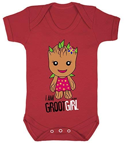 Colour Fashion Guardians of The Galaxy Groot Fille Superhéros Drôle Bodys Bébé 100% Cotton - Rouge, 3-6 Months