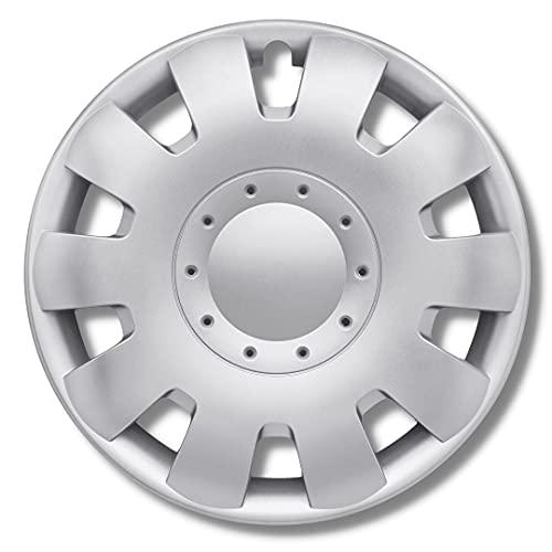 Radkappen Silber 16 Zoll - Radzierblenden für Stahlfelgen - Alufelgen Look Radblenden Für die meisten Marken und Felgen - Europäisches Produkt aus recyceltem Kunststoff - 4er Set Zierkappen