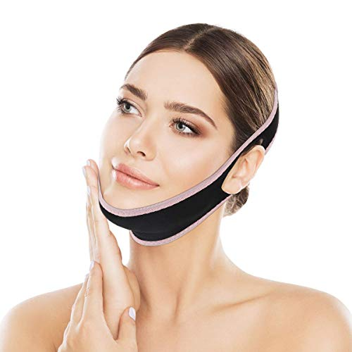 OUTERDO Facial Slimming Strap, Double Chin Reducer, Facial Weight Lose Slimmer Device V Line for Women for Face Neck and Chin Lift Double Effect Adjustable