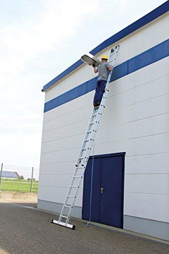 Aluminium trekkoordladder, 2 x 17 sporten, werkhoogte tot ca. 10,00 m