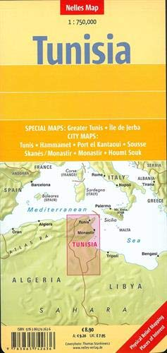 Túnez, mapa de carreteras. Escala 1:750.000. Nelles. (Nelles Map)
