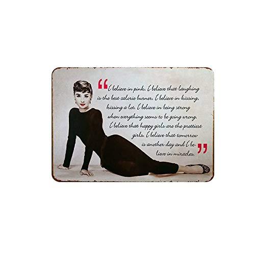 Mora color Audrey Hepburn tin Sign Vintage Metal Pub Club Cafe bar Home Wall Art Decoration Poster Retro 8x12 inches