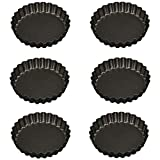 Iconikal Fluted Nonstick Mini Tart Flan Pans, 4-inch, 6-Pack