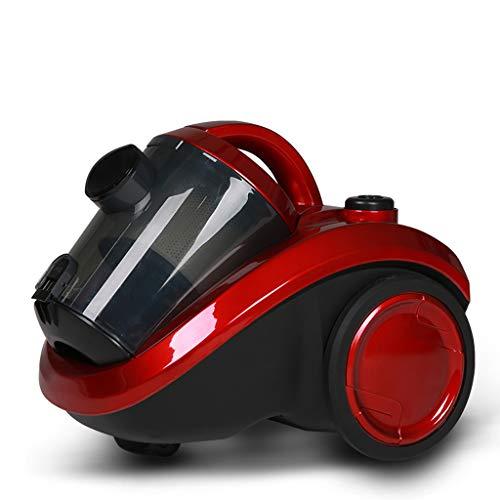 Aspirateur filtre haute puissance 1400W avec filtre cyclone, aspirateur horizontal à poignée multifonctionnelle rouge avec rembobineur et portée étendue, puissance ajustable ( Couleur : Red )