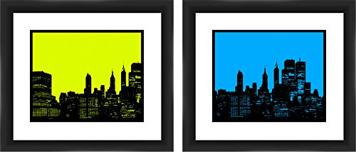PTM Images 'Green And Blue City Sky' Artwork, 16 by 14-Inch, Black, Set of 2