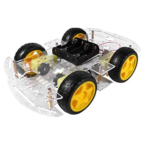 ULTECHNOVO DIY Robot Smart Car Chassis Kit 4 Wheel 2 Layer Robot Smart Car Chassis Kits with Speed Encoder for Arduino DIY