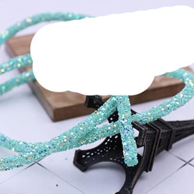 SEOLQX 1 Yarda 6 mm Lentejuelas Brillantes Diamantes de imitación Tubo Suave Cuerda Cuerda para Bricolaje Ropa Zapatos Sombrero joyería Pulsera Fiesta decoración-Verde Tiffany