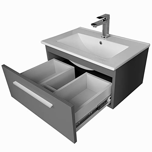 paplinskimoebel Waschtisch mit Unterschrank Granada Waschbeckenschrank Hängend Waschplatz Schublade 50cm (Graphit)
