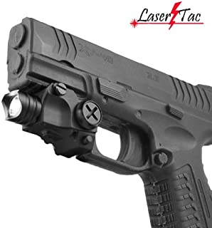 Lasertac Rechargeable Subcompact Pistol Tactical Flashlight for Springfield XD XD-S XDM S&W M&P Beretta PX-4 Taurus Millenium Walther P22 PPQ PPS PPX PK380 Ruger SR9C Sig Sauer Glock