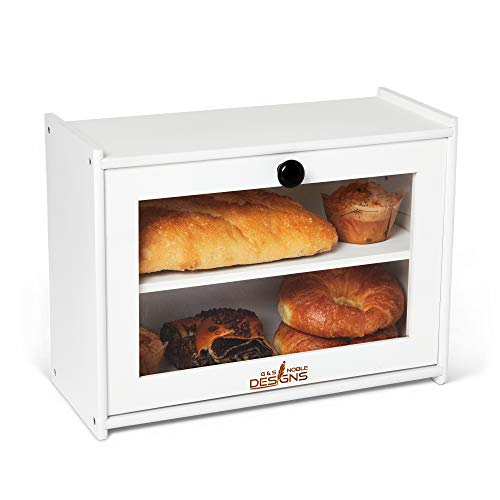 G&S Noble Designs Farmhouse Bread Box - Airtight Loaf Container - Fresh Baked Goods, Bread - Farmhouse Kitchen Decor - Acrylic Window - Bamboo - Rustic Bread Storage - White and Black