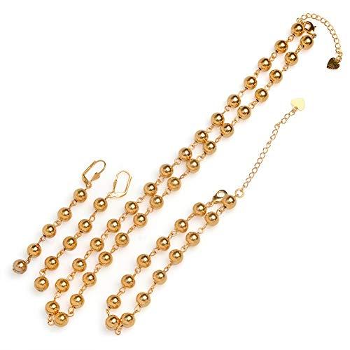 Gold Color Rosenkranz Schmuck Sets Ball Bead Halskette/Ohrringe/20cm Armband Für Frauen Arabisch/Afrika Äthiopische Juwelen