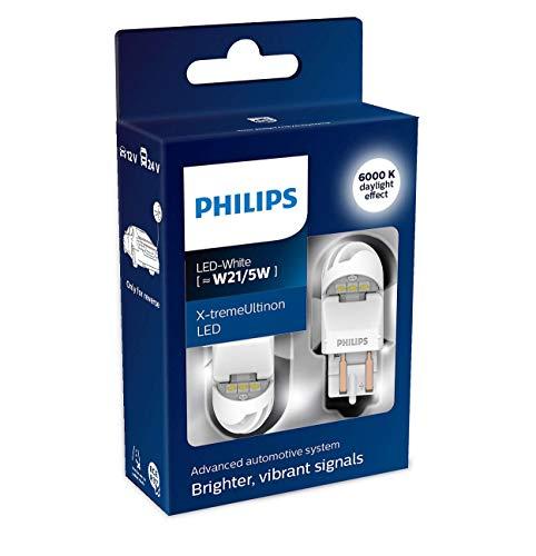 Philips 11066XUWX2 LED Lampadina di Segnalazione per Auto (W21/5W White), Bianco, Set di 2