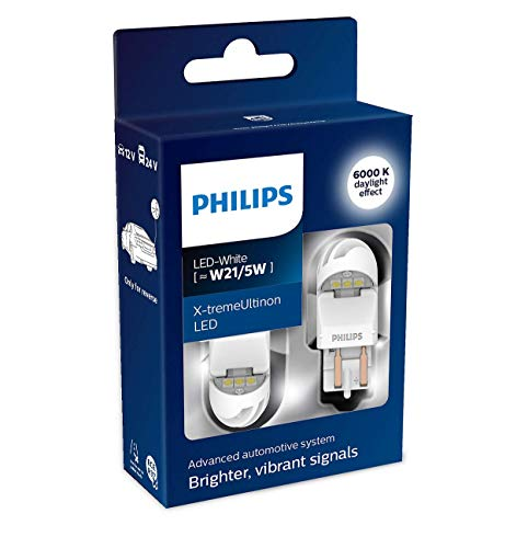 Philips automotive lighting 11066XUWX2 LED foco de señalización para automóvil (W21/5W white), Blanco, Set de 2