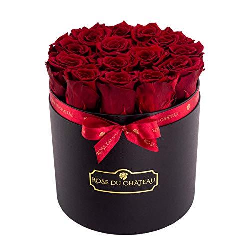 Rose du chateau - Rote Konservierte Rosen - Schwarzer Rosenbox - Flowerbox - Blumenbox - Echte Rosen die bis zu 2 Jahren blhen Blumen Blumendeko