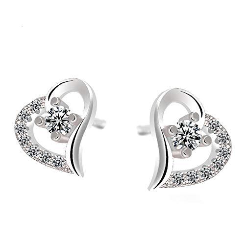 Earrings Women Studs Trendy 925 Sterling Silver Heart Earrings Women Wedding Jewelry Cubic Zirconia Stud Earring