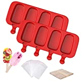 2 Pcs Upgraded Popscicle Molds, Ouddy Large Silicone Popsicle Molds 4 Cavities Ice Pop Molds Oval with 50 Wooden Sticks & 30 Parcel Bags, Cake Pop Mold for Kids DIY Ice Popsicle