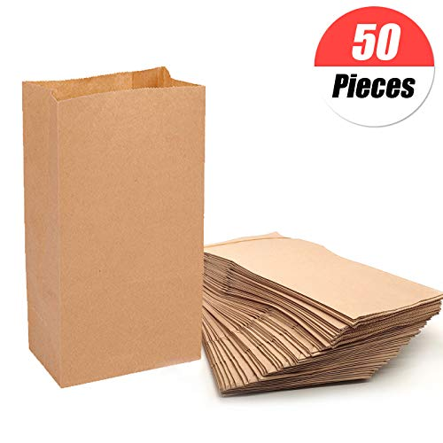 50 bruine papieren zakjes, papieren zakken, zakjes van kraftpapierzakken, cadeauzakjes, zakjes met bodem voor broodjes, koekjes, snoepgoed, bruiloften, noten, broodzakjes, geschenkzakjes