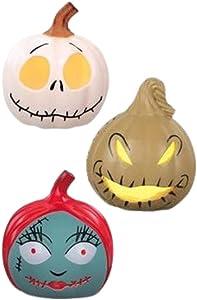 The Nightmare Before Christmas Mini Light Up Pumpkins Jack, Sally, Oogie Boogie, 3.25