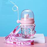 Tazza per bambini cannuccia, Portabile borraccia con cannuccia, Bottiglia A Prova di Perdite Facile da aprire, 250 ML Rosa, Senza BPA