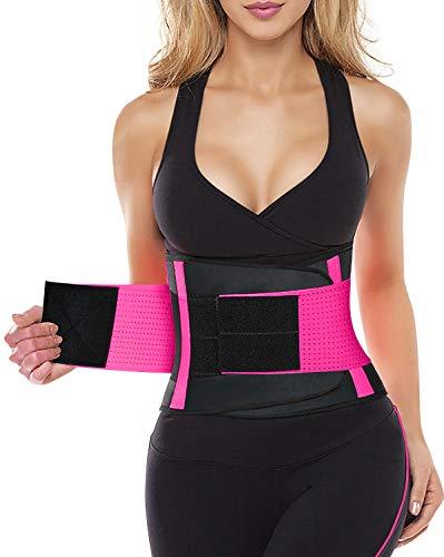 YIANNA Women Waist Trainer Belt - Slimming Sauna Waist Trimmer Belly Band Sweat Sports Girdle Belt Weight loss, YA8003-Rose-M